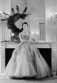 Ivy Nicholson in a dress by Jacques Griffe, Paris 1952.