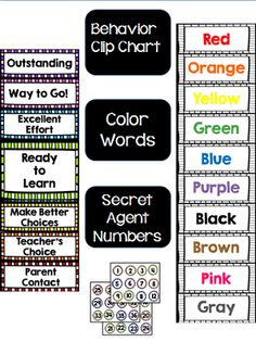 Classroom Decor Bundle:  Classic Colors   Includes:   Alphabet Pennants  Number Posters  Shapes Calendar Set  Birthday Display  Secret Agent Numbers Behavior Clip Chart Color posters Welcome Banner Table signs  Wall of Wow! Banner
