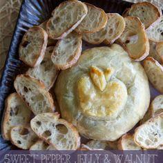 Sweet Pepper Jelly & Walnut Brie En Croute