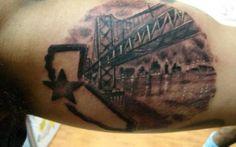 Bay Bridge / California - from Five and Dime Tattoos (Oakland) Bridge Tattoo, Raiders Baby, Tattoo Inspiration, Girly Things, Tatting, Piercing, Tattoo Quotes, Tattoo Ideas, Make Up