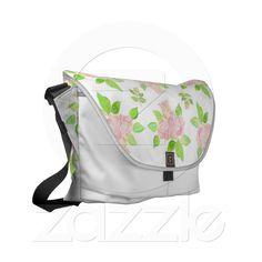 Vintage Pink Rose Pattern Messenger Bag from Zazzle.com