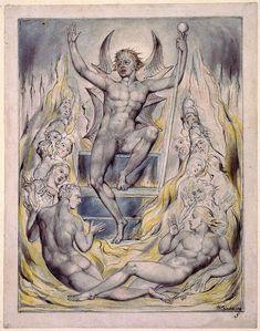 William Blake - Satan Addressing his Potentates (Illustrations to John Milton - Paradise Regained), William Blake Art, Harry Clarke, Pen And Wash, Arthur Rackham, Art Database, Art Graphique, Tarot, Watercolor Illustration, Occult