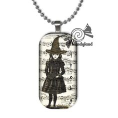 Witchy Girl Glass Tile Pendant Necklace, Witch Halloween Jewelry | c0nfus3dgurl - Jewelry on ArtFire