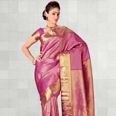 Pink and Gold Pure Kanchipuram Handloom Silk Saree With Blouse