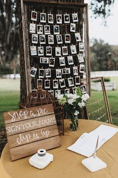 DIY wedding guest book with photos and polaroid wedding guest book ideas Diy Wedding Photo Booth, Diy Photo Booth, Wedding Photos, Poloroid Photo Booth, Photo Booth Signs, Rustic Photo Booth, Wedding Photo Table, Picture Booth, Wedding Guest Table
