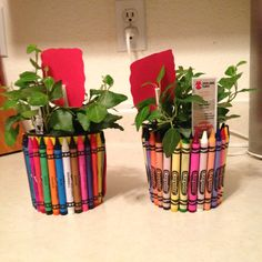 """End of year teacher gift. Using 24-36 crayons, hot glue to small plastic planter. Attached is a small sign that states """" thank you for helping me grow!"""". Very simple to make and cute. Teacher will really appreciate it!!"""