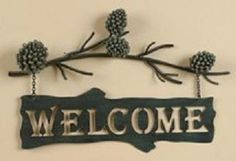 Amazon.com: PINE CONE Lodge Welcome SIGN Metal WALL art Home Decor: Home & Kitchen