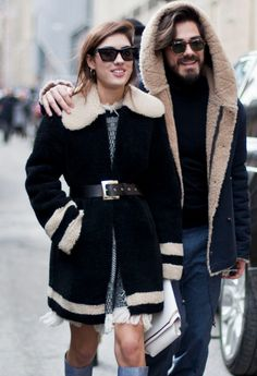 Street Style - all of the must-see winter outfits from NYFW 2015 - belted shearling + knee high boots and fringe