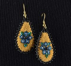 Smoked Moose Hide Beaded Earrings by Corinna M. Evans (Athabascan) ...XoXo