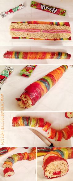 I don't know many kids who eat sushi, but I know some kids who LOVE this candy sushi! It's such a creative treat for kids, and super simple too! Supplies: Rice Krispy cereal Marshmallow…