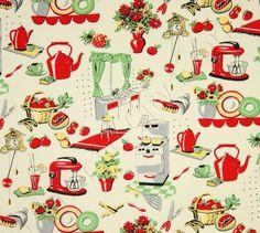 Vintage Barkcloth in the Kitchen - Vintage Home Shop