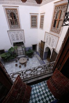Looking into the Courtyard of a Marrakeshi Riad, Morocco