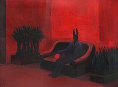 Joanna Karpowicz (Polish, b. Anubis on the Red Couch, Acrylic on canvas, 54 x 73 cm. via jareckiworld Anubis, Baphomet, The Ancient Magus, Ancient Egypt, Techno, Illustration Pop Art, Illustrations, Film Inspiration, Writing Inspiration
