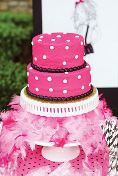 pink polka dot cake (love the feather boa)