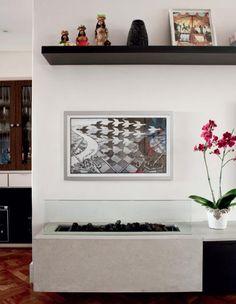 Lareira a gás aquece a casa na medida sem ocupar muito espaço (R$ 1 200 a peça, da Lazer Cia).