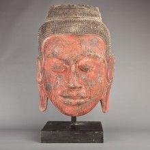 Teak Wood Buddha Face - 51cm
