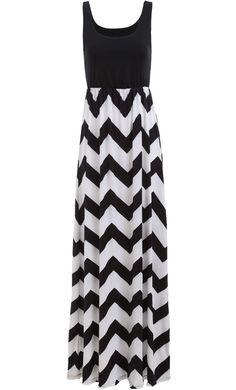 Black and white chevron maxi dress #dress #dresses