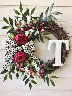 Everyday Beautiful Monogram Wreath, Everyday Wreath, Grapevine Flower Wreath, Spring Wreath , Summer - Decoration For Home Monogram Wreath, Diy Wreath, Wreath Ideas, Letter Wreath, Grapevine Wreath, Wreath Making, Front Door Monogram, Felt Wreath, Tulle Wreath