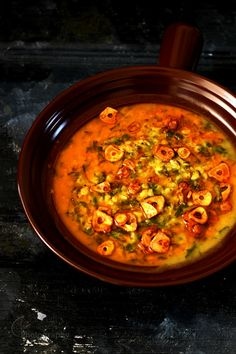 Jagruti's Cooking Odyssey: Garlicky ( Lahsuni ) Moong-Masoor Daal with Carrot Greens
