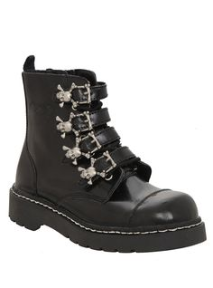 Anarchic By T.U.K. Black Skull Buckle Boot | Hot Topic
