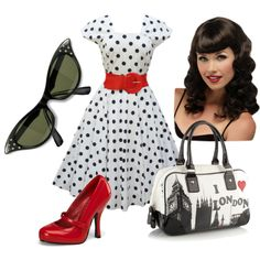 """Rockabilly Red"" by samantha-ogden on Polyvore    I makes a pretty little rockabilly outfit. :3 If only I had that hair!!!"