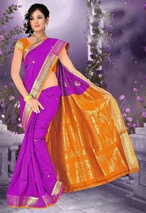 Purple Art Silk Designer Saree With Blouse