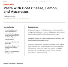 Pasta with Goat Cheese, Lemon and Asparagus