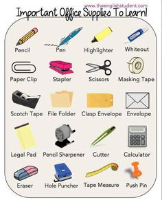 office supplies, ESL vocabularies, ESL, English vocabulary Plus English Time, English Course, English Fun, English Study, English Class, English Words, English Lessons, English Grammar, Learn English