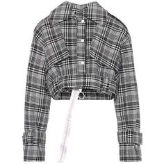 Off-White Cropped Plaid Jacket (14.500.060 IDR) ❤ liked on Polyvore featuring outerwear, jackets, coats, tops, black, bomber jackets, plaid jacket, tartan jacket, off white jacket and cropped jacket