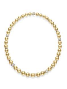 11.9x11mm  Golden South Sea Cultured Pearl   9.05ct  Diamond   18k  White Gold