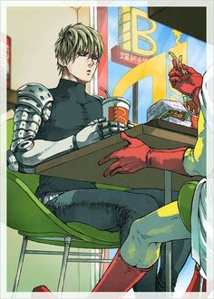 One Punch Man - source: https://shino05410.tumblr.com/post/160579789335/genos-spy-photo#notes