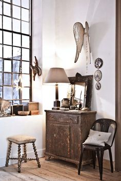 Modern Rustic. Love the angel wings.