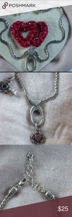 """❤️BRIGHTON ABC Hook Short Charm Holder Necklace❤️ This charm holder necklace allows you much versatility just by changing the charm (s). The hook opens to let you stack letters or charms. EUC. Heart has crystals. All present and accounted for. 15"""" end to end with a 2"""" extender for more length. Say it with a ❤️. Charms for sale in separate listings. BUNDLE & SAVE! Brighton Jewelry Necklaces"""
