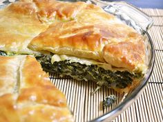 spinach pie - Ingredients  •1 Tbsp olive oil $0.16  •1 small yellow onion $0.57  •1 clove garlic $0.04  •1 cup cottage cheese $1.20  •¼ cup parmesan cheese $0.42  •⅛ tsp ground nutmeg $0.02  •½ tsp salt $0.02  •10-15 cranks fresh cracked pepper $0.02  •2 large eggs $0.44  •16 oz. frozen cut spinach $1.63  •1 sheet (8 oz.) puff pastry $2.50  •2 Tbsp flour for dusting $0.05  •1 large egg (for glaze, optional) $0.22
