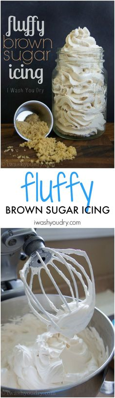 This amazing Fluffy Brown Sugar Icing is a vintage recipe! It's light and fluffy and tastes like a caramel marshmallow! @iwashyoudry