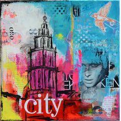 'City Groningen', 30x30cm, acryl en mixed media op doek.  Ook werk in opdracht info@janetedens.nl