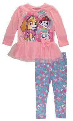 6a3dc30798408 Paw Patrol Little Girls Toddler Pink Tutu Tunic 2pc Legging Set, Pink 2T.  Tunic