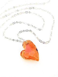 Crystal Heart Necklace Orange Pendant Swarovski #heart by UrbanClink, $37.50