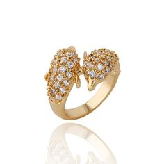 Fashion 18K Gold Plated Double Dolphin Shape Copper Ring Fill White Zircon Two Sizes