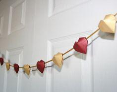 Items similar to Valentine Heart Garland. Origami Ornaments, Origami Garland, Valentine Heart, Valentines Diy, Heart Garland, Red Garland, Origami Wedding, Origami Paper Art, Heart Diy