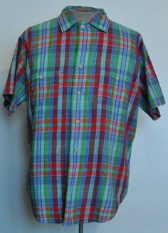 Ralph Lauren Polo Shirt 14 Women Multi-Color Plaid Button-Up Cotton Short Sleeve #RalphLaurenPolo #PoloShirt #Casual free shipping auction starting at $14.99