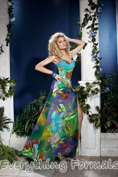 Fresh and Tropical Printed #Chiffon Sweetheart Neckline A Line Long #PromGown by #Panoply Style 14507~ MSRP: $322.92 Guaranteed Low Price: $253.99 (You save $68.93) *This product is on SALE (http://www.everythingformals.com/Panoply-14507/)