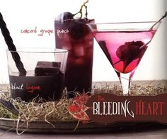 """Bleeding Heart, Grape Punch, & Black Lagoon  from Martha Stewart's Spirited Celebrations (Halloween 2009)  Black Lagoon: a lemony vodka libation garnished with black ice cubes and a licorice stick.  Spiked Concord Grape Punch: this one's spiced AND spiked!   Bleeding Heart: a martini with a pickled beet that """"bleeds"""" from a wound caused by a cocktail spear."""