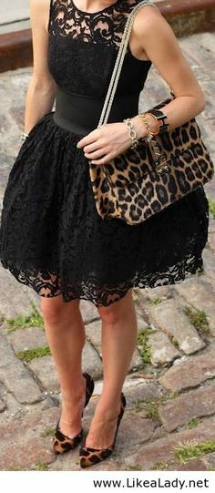 Beautiful black lace dress with a little leopard print.