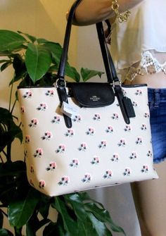 NWT COACH COATED CANVAS PVC LEATHER FLOWER TOTE SHOULDER BAG PURSE 6f5ce4734b21f