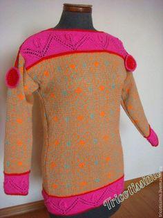 Купить Туника Фортюн, ручное вязание - орнамент, яркая туника, стильная туника, модная туника