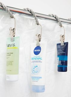 Use curtain clips to hang products at the top of your shower to eliminate mildew and reduce clutter from around the edges of your tub.