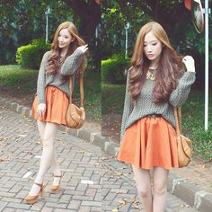 The Stag and the Owls - olive green knit jumper and orange colour pop skirt