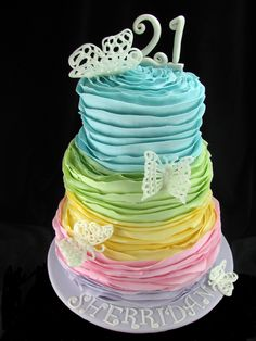 This pretty cake is a recreation of a design chosen by my client from Sugar Ruffles. It is three tiers (6,8,10 inch) covered in pastel coloured fondant ruffles and decorated with royal icing lace butterflies. The top tier is white chocolate mudcake with white chocolate ganache. The middle tier is red velvet cake with white chocolate ganache and the bottom tier is chocolate mudcake with milk chocolate ganache.