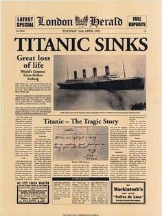 Poster depicting the coverage of the sinking of the Titanic.